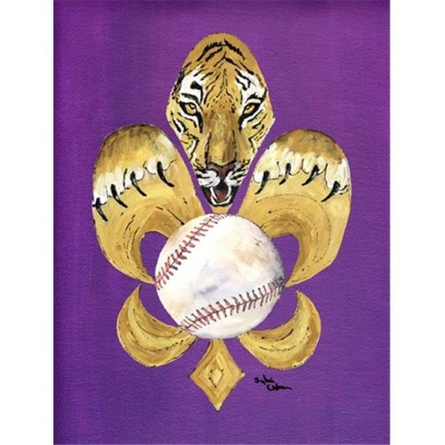 Carolines Treasures 8476CHF 28 x 40 in. Tiger Fleur de lis Baseball House Size Canvas Flag