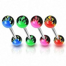 Colour Fire Flames Acrylic Ball Double End Tongue Bar Piercing Thickness : 1.6mm Length : 16mm Material : Surgical Steel