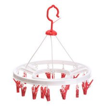 Quality Circular Convenient Drip Hanger Drying Rack With 20 Clips ( Red )
