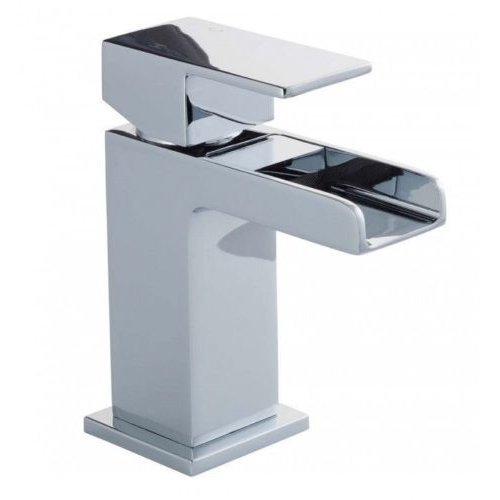 Chrome Square Waterfall Tap | Mono Basin Mixer Tap