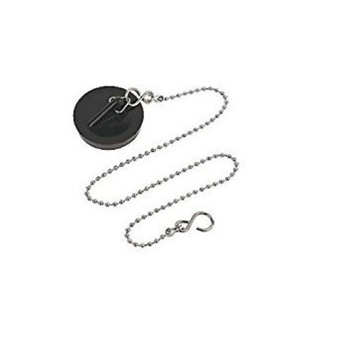 1 3/4inch 44mm black plastic bath / kitchen sink plug stainless ball chain with S hook 37