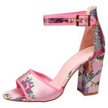 Kimber Womens High Block Heel Peep Toe Floral Sandals