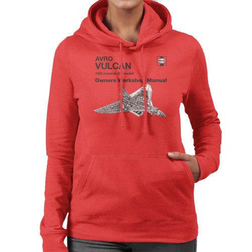 (X-Large, Red) Haynes Owners Workshop Manual Avro Vulcan 1952 B2 Women's Hooded Sweatshirt