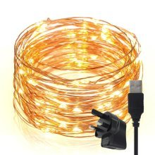 TechRise 10m 100 LEDS Star Starry Copper Wire Fairy String Lights - Warm Light