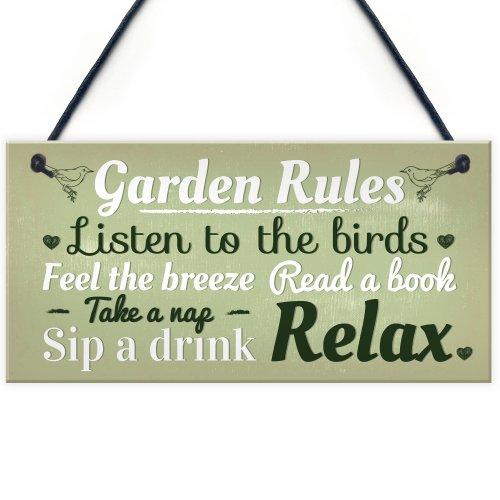RED OCEAN Garden Rules Novelty Hanging Plaque Summer House Sign Garden Shed Friendship Gift