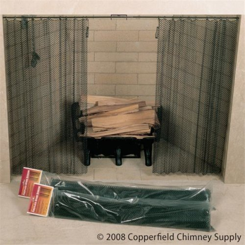 Masewa Metal Net Co.  Ltd  48 Inch  x 20 Inch  Hanging Fireplace Spark Screen  Rod Not Included