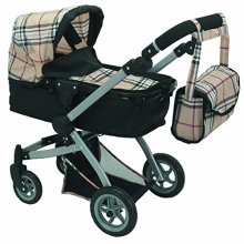Babyboo Deluxe Doll Pram Color Beige Plaid with Swiveling Wheels & Adjustable Handle and Free Carriage Bag  9651B Beige Plaid