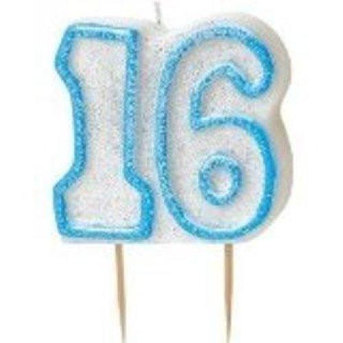 Age 16 Birthday Candle Blue Glitz