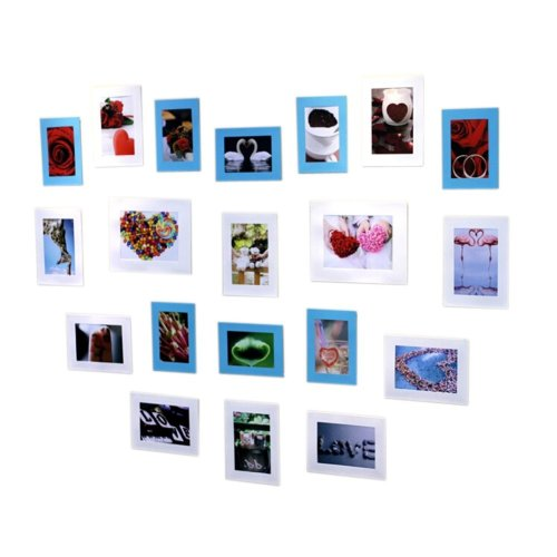 Beautiful Wall Decor 20 Paper Photo Frames With a Pack of Blu Tack,Blue & White