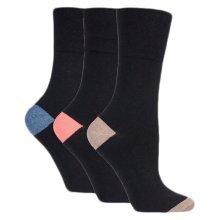Ladies Plain Black Gentle Grip Socks, RP08