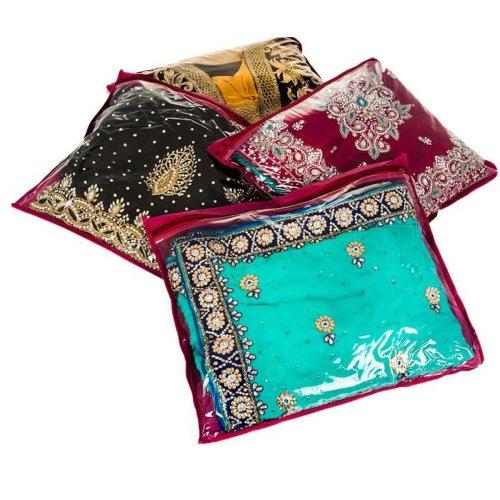 LIVIVO ® Pack of 10 Clear Saree Clothes Garments Sari Storage Bags Wardrobe Organiser (Maroon)