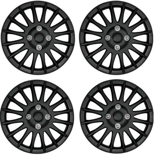 "Streetwize Car Wheel Trim Set 14"" Lightning Black Set Of 4 Hub Caps Covers"