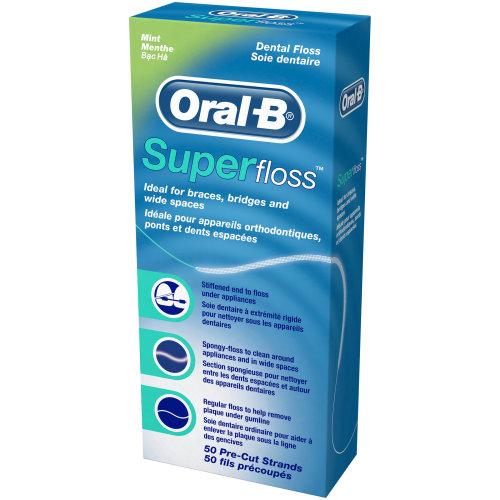 3 X Oral -B Super Floss Mint 50 PRE-CUT STRANDS, Dental Floss