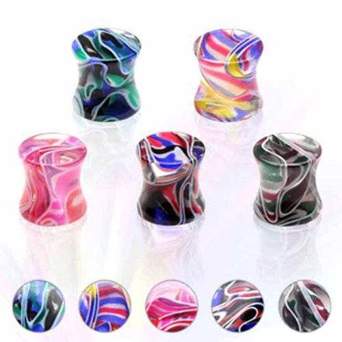 Urban Male Pack of Five Acrylic Marble Effect Ear Stretching Flesh Plugs 14mm