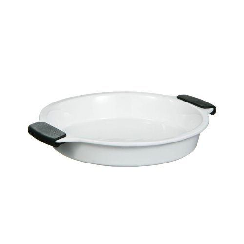 OvenLove Round Stoneware Dish with Silicone Handles, White