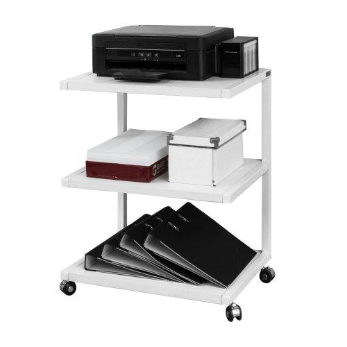 SoBuy® FRG81-W, Desk Side Printer Shelf Stand with 3 Shelves on Wheels