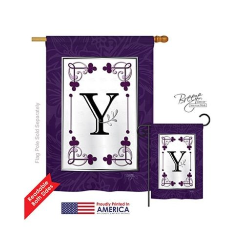 Breeze Decor 30025 Classic Y Monogram 2-Sided Vertical Impression House Flag - 28 x 40 in.