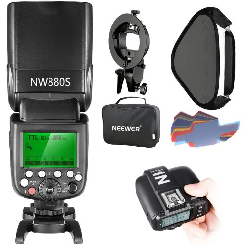 Neewer 2.4G Wireless 1/8000 HSS TTL Master/Slave Flash Speedlite Kit for Sony Camera with New Mi Shoe,Includes:NW880S Flash,N1T-S Trigger,S-type...