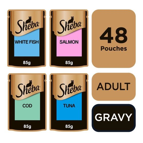 Sheba Select Slices Cat Pouches Fish Collection In Gravy 12x85g (Pack of 4)