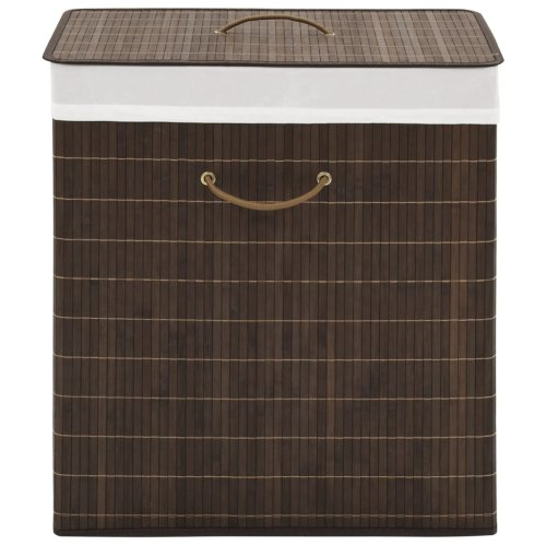 vidaXL Bamboo Laundry Bin Rectangular Dark Brown Clothes Storage Cabinet Unit