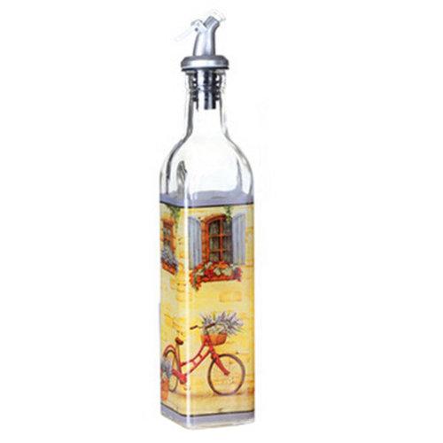 Beautiful Painted Glass Oil & Vinegar Bottle Oil Container Oil Dispenser, E