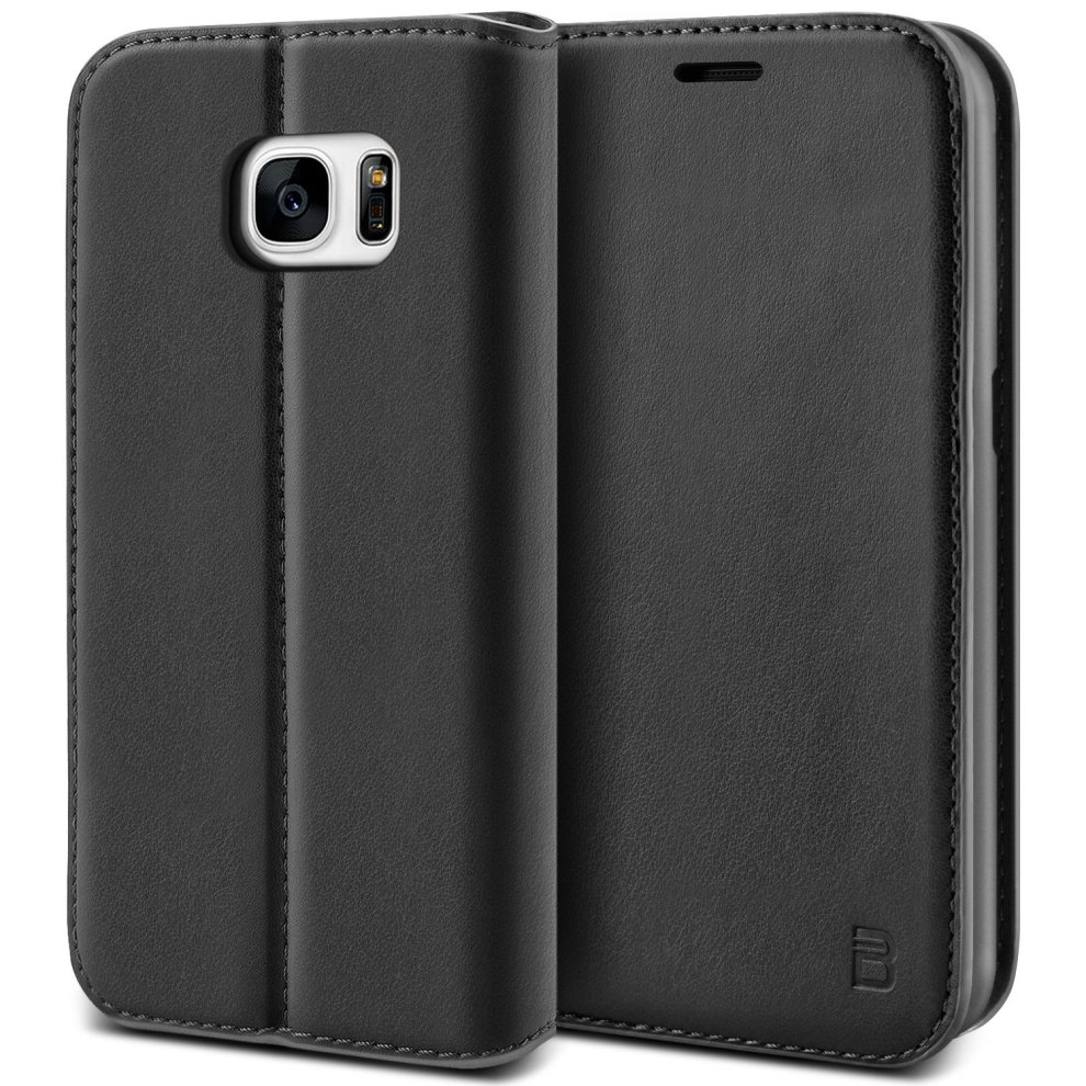 online store 50c18 52afa BEZ Samsung S7 Phone Case, Protective PU Leather Wallet Flip Cover for  Samsung Galaxy S7 with Card Holders, Kick Stand, Magnetic Closure, Black