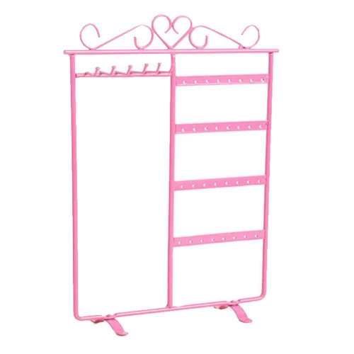 Jewelry Organizer Ring Necklace Earring Bracelet Holder Display Stands Pink