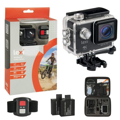Lexi PI00501 Ultimate 4K Action Video Camera WiFi Waterproof Wide Angle Lens