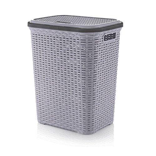 Plastic 56L Laundry Basket | Rattan Style Washing Bin