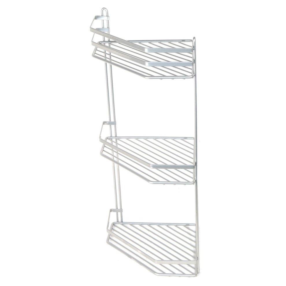3-Tier Silver Wall-Mounted Shower Caddy | Rustproof Corner Shower ...